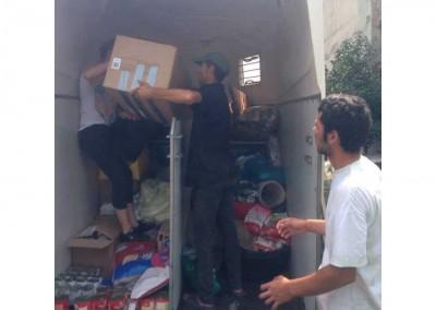 nkunft in Rumänien, Spenden ausladen